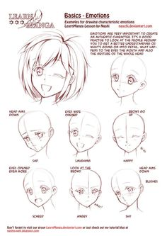 Learn Manga: Emotions by *Naschi on deviantART, how to draw manga face, girl face, cute kawaii drawing tutorial , how to manga draw eyes , expressions, manga, anime, tutorial by aniellabrooke
