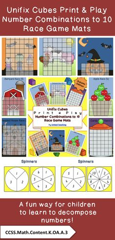 Unifix Cubes Print & Play Number Combinations to 10 Race Game Mats >> United Teaching >> Fun way to learn to decompose numbers >> CCSS.Math.Content.K.OA.A.3