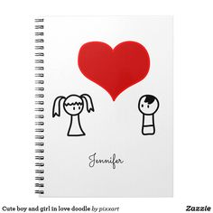 Cute boy and girl in love doodle notebook