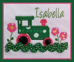 Tractor with Flowers Personalized Applique T-Shirt. $23.95, via Etsy.