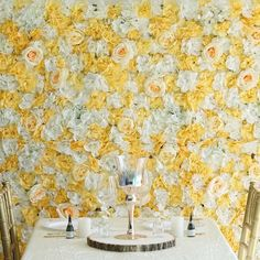 Floral wall panels make for an unforgettable wedding backdrop! 4 pcs Assorted Silk Flowers Wall Backdrop Panels - Champagne and White