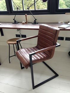 #leather office #chair industrial metal legs