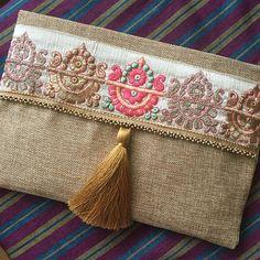 Oro bordados bolso boho, estilo bohemio, embrague, bolso de embrague, regalo para ella, bolso para mujer