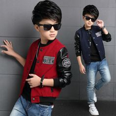 Boys Coat Polyester Faux Leather Casual Children Hoodies Brand Autumn Teenage Boys Jackets Patchwork Letter Kid Clothes For Boys - Kid Shop Global - Kids & Baby Shop Online - baby & kids clothing, toys for baby & kid Outfits Niños, Kids Outfits, Fall Outfits, Baby Shop Online, Boys Suits, Kids Fashion Boy, Style Fashion, Autumn Fashion, Kids Coats