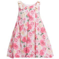 Balloon Chic Girls Pink Roses Print Sleeveless Dress