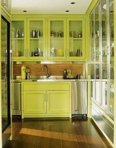 Fetching Pictures Of Green Kitchen Cabinets : Astonishing Lime Green Kitchen Cabinet in EyeCatching Kitchen with Metal Countertop and Hidden Lighting also Wooden Floor Lime Green Kitchen, Green Kitchen Cabinets, Kitchen Cabinet Colors, Painting Kitchen Cabinets, Kitchen Colors, New Kitchen, Glass Cabinets, Happy Kitchen, Kitchen Ideas
