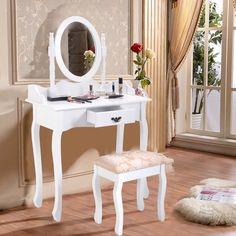 Makeup Dressing Table Set Stool Drawer Mirror Jewelry Desk Bedroom Furnitures