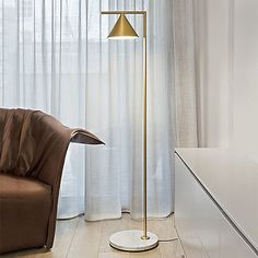 Captain Flint Floor lamp - 154 cm - Adjustable - Marble base Brass (White marble) by Flos - Design furniture and decoration with Made in Design Captain Flint, Brass Floor Lamp, Led Floor Lamp, Contemporary Floor Lamps, Modern Floor Lamps, Modern Contemporary, Unique Lamps, Lamp Design, Home Lighting