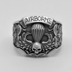 St Michael Handcrafted Sterling Silver 925 US Army Airborne Holy Michael, Airborne Army, Steampunk Rings, Silver Man, Usmc, Bow Ties, Us Army, Handmade Silver, Metallica