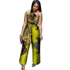African Cotton Wax Print Romper Sexy Jumpsuit For Women Dashiki Batik What do you think is the coolest Women Jumpsuits. African Attire, African Fashion Dresses, African Wear, African Style, African Beauty, African Dress, African Print Jumpsuit, African Tops, Designer Jumpsuits