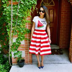 Watermelon Tee, Stripe Skirt