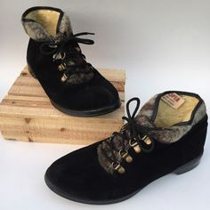 Vintage Black Suede Boots Faux After Ski Apres Ski Aspen Sno Boots - https://www.etsy.com/listing/261126778/vintage-black-suede-boots-faux-fur-lace?utm_source=socialpilotco&utm_medium=api&utm_campaign=api  #shoes #women