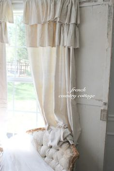 Make drop cloth Shabby curtains tutorial and 45 BEST Shabby Lifestyle Decor & Accessory DIY Tutorials EVER!! From MrsPollyRogers.com