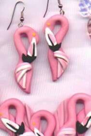 Flamingo shorebird parrot necklace earrings-bird jewelry by dawn