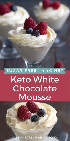 Creamy keto cheesecake mousse with white chocolate and fresh berries. This easy low carb and sugar-free dessert whips up in about 15 minutes, start to finish. Delicious stuff! Sugar Free Desserts, Sugar Free Recipes, Low Carb Desserts, Easy Desserts, Sweet Recipes, Diabetic Desserts, Ketogenic Desserts, Keto Friendly Desserts, Keto Snacks