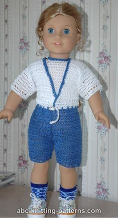 ABC Knitting Patterns - American Girl Doll Summer Shorts aunt Lydia's cotton crochet thread #10