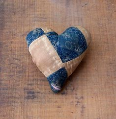 Small Heart made from antique quilt & vintage ticking. Click on image to purchase on Etsy!