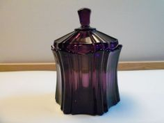 Vintage Fenton Purple Amethyst Glass Covered Candy Dish