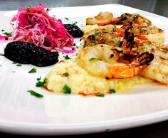 Grilled garlic shrimp, Smoked Gouda grits, Cabbage and radish slaw, Blueberry hot sauce