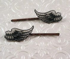 Vintage wings illustration copper finish barrette hair pin pair