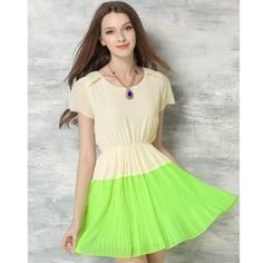 Women Summer Chiffon Dress Contrast Color O-Neck Short Sleeve Cute Pleated Dress with Necklace Orange/Blue/Green