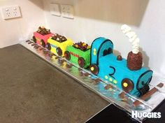 My son is train crazy so his dad and I decided to make this train cake for his birthday. My partner had this cake when he was a little boy and so did my brothers. I think it's an Australian favourite out of the Woman's Weekly Cake Book.