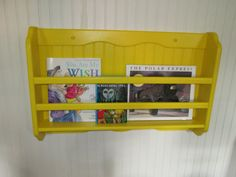book rack childrens wall hanging painted primary yellow on etsy 4500 - Tot Tutors Book Rack Primary Colors