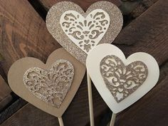 Heart Lollipops - hearts on a stick wedding aisle decorations by ShowstopperEvents on Etsy Glitter Hearts, Gold Glitter, Wedding Aisle Decorations, Valentine Decorations, Cream And Gold, Favor Boxes, Handmade Wedding, Different Colors, Our Wedding