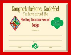 Cadette Finding Common Ground Badge Certificate