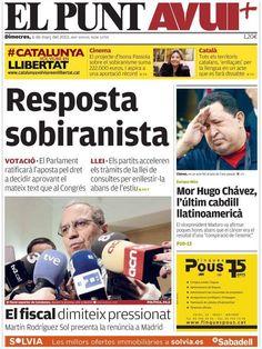 Los Titulares y Portadas de Noticias Destacadas Españolas del 6 de Marzo de 2013 del Diario El Punt AVUI ¿Que le pareció esta Portada de este Diario Español?