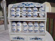 Awwwesome set for blue/white French country cottage motif kitchen!!!!!! sooooo love blue/white color theme!!!