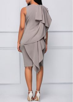 Sleeveless V Neck Flouncing Grey Dress | Rosewe.com - USD $33.53