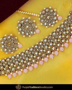 Indian Necklace, Indian Jewelry, Stylish Jewelry, Fashion Jewelry, Punjabi Traditional Jewellery, Sikh Wedding, Gold Polish, Pink Champagne, Traditional Wedding