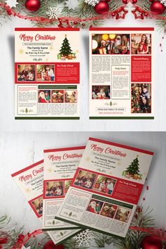 Christmas Newsletter Template Newsletter Templates, Flyer Template, Christmas Newsletter, Christmas Holidays, Christmas Ideas, Proposal Templates, Corporate Identity, Photoshop Elements, Christmas Printables