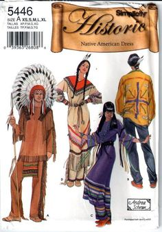 Simplicity 5446 0661 Mens and Misses American Indian Dress Leggings Pants Breech Cloth Designer Andrea Schewe costume sewing pattern  by mbchills