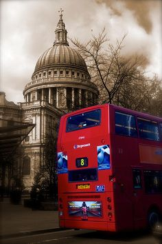 St Pauls Cathedral from the East with passing London Bus photograph by John Colley http://fineartamerica.com/featured/st-pauls-and-red-london-bus-john-colley.html