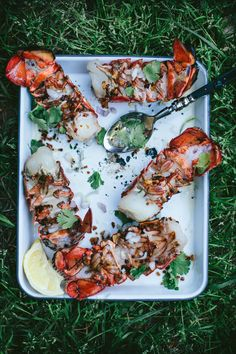 Ember Grilled Lobster Tails with Shallot Butter Broth
