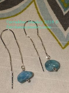 Larimar Genuine Larimar Nugget Bead on Ear by TerraMarJewelry