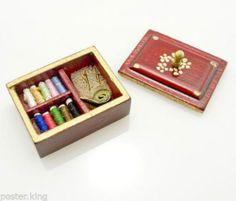 Mahogany Wood Sewing BOX Knitting Tool Kits 1 12 Doll'S Dollhouse Miniature | eBay