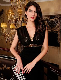 Sequin Tube V-neck Black Dress