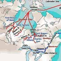 Trading infographic : Map of Major Fur Trade Routes