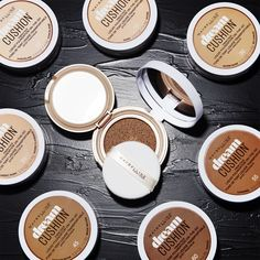 Maybelline's first ever cushion foundation - available in 8 shades. Dream Cushion Fresh Face Liquid Foundation delivers complete luminous coverage for fresh-faced makeup. This is the perfect travel friendly foundation that you can take on the go with you for any touch ups throughout the day.