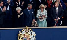 All change: Camilla took her place on the front row of the Royal Box as she watched the Diamond Jubilee concert