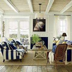 The living room from our East Beach Ultimate Beach House in Norfolk, VA was designed by Phoebe Howard.