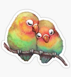 Lovebird stickers featuring millions of original designs created by independent artists. Love Birds Drawing, Bird Drawings, Animal Drawings, Cute Drawings, Tumblr Stickers, Cool Stickers, Printable Stickers, Cute Birds, Aesthetic Stickers