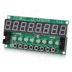 8X Seven Segments Display + 8X Key + 8X Double Color LED Module for Arduino. Integrates buttons, LED & Seven Segments Display - Only requires three IO ports to be driven - By day of the module's TM1638 chip micro-8 8-segment LED display and 8 buttons and 8 test Two-color LED control, IO savings serial communication interface, 8-level brightness adjustment (LED and adjust the brightness of a unified digital), and scan button scans showed no MCU intervention, MCU only needs to read or send…
