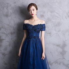27f255d4c7a Midnight Navy Off Shoulder Prom Dress. The Dress Rail Boutique