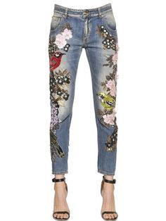 Couture Embellished Cotton Denim Jeans                                                                                                                                                                                 More