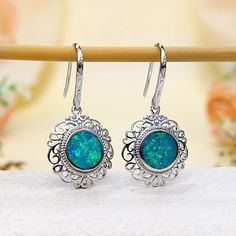 Sterling Silver Ocean Green Fire Australian Black Opal Doublet (Boulder Opal) Hook Earrings