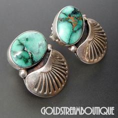 Orville Tsinnie Old Navajo Sterling Silver American Turquoise Southwestern Earrings
